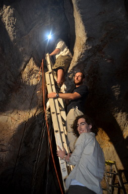 Scientists working in cave
